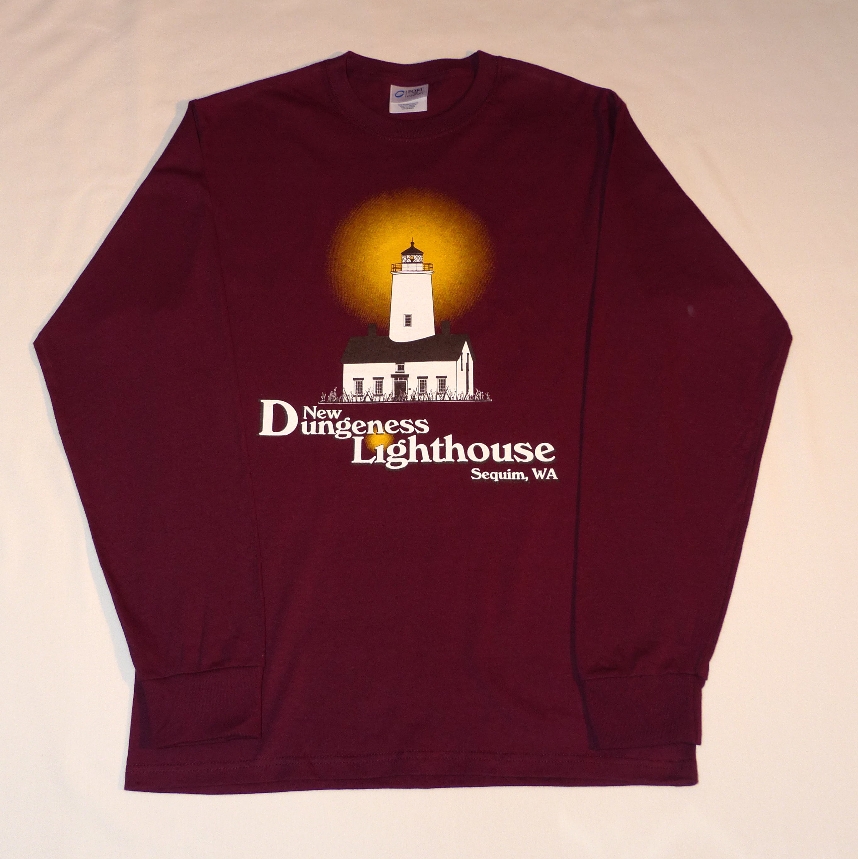 c2ba438c0738 Maroon Long Sleeve T-Shirt - New Dungeness Light Station