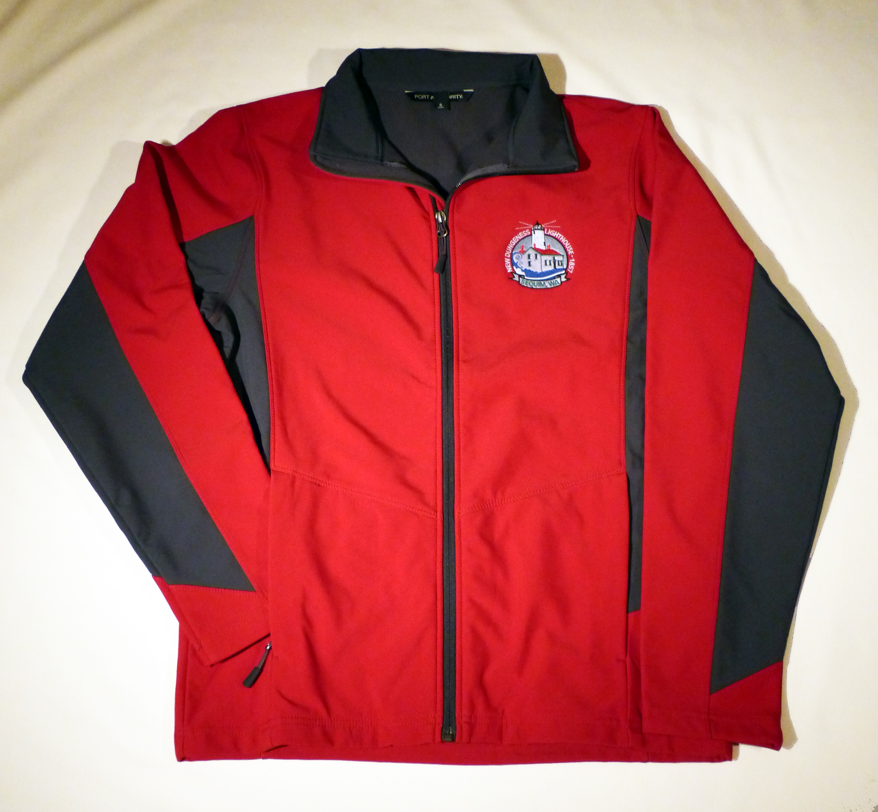 Red & Gray Soft Shell Jacket - New Dungeness Light Station